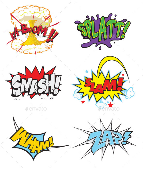 Comic Action Words - Decorative Symbols Decorative