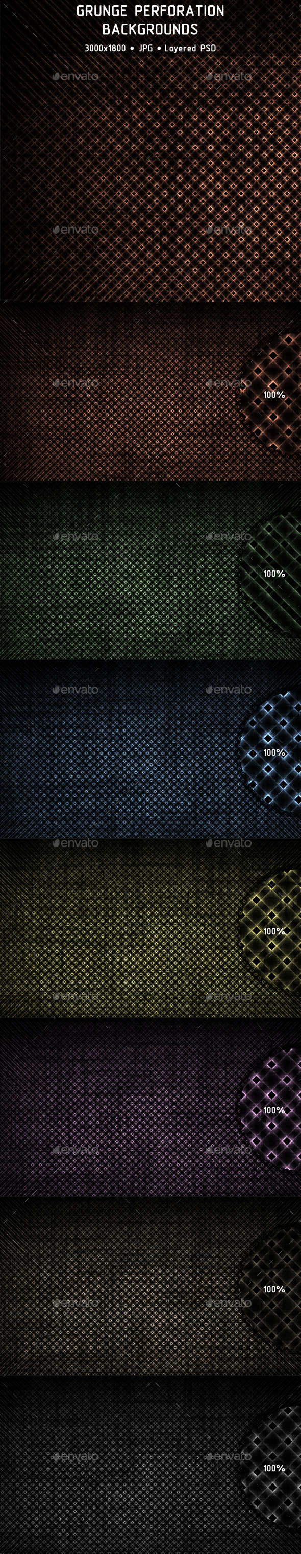Grunge Perforation Backgrounds - Tech / Futuristic Backgrounds