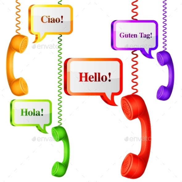 Telephone Handset with Talk Bubbles - Communications Technology