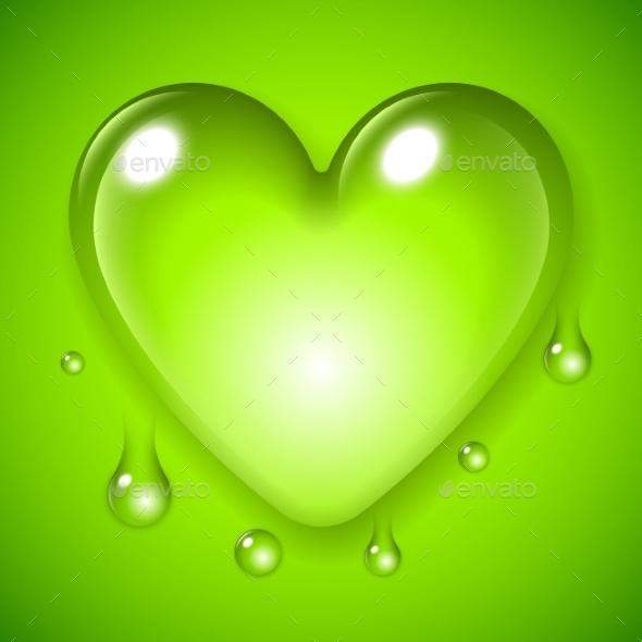Green Waterdrop Heart - Flowers & Plants Nature