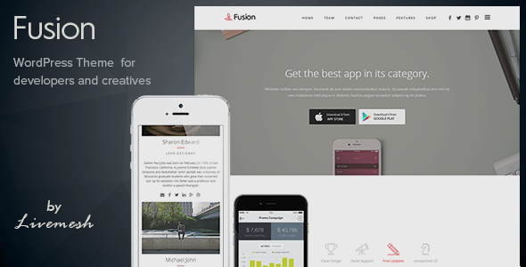 Fusion – Mobile App Landing WordPress Theme