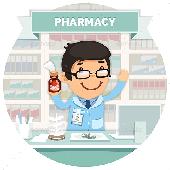 Apothecary Behind the Counter at Pharmacy - Health/Medicine Conceptual
