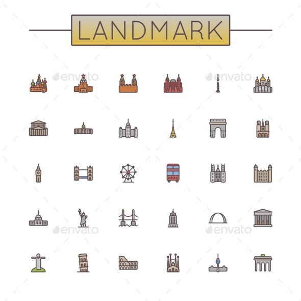 Vector Colored Landmark Line Icons - Buildings Objects