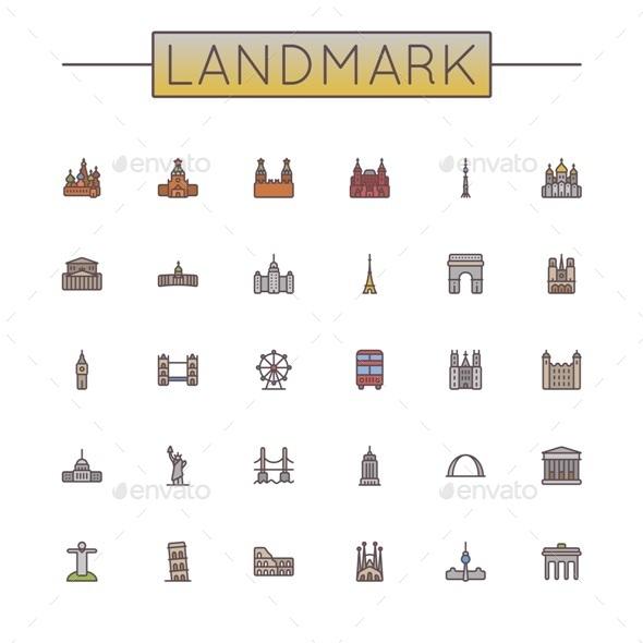 Colored Landmark Line Icons - Travel Conceptual