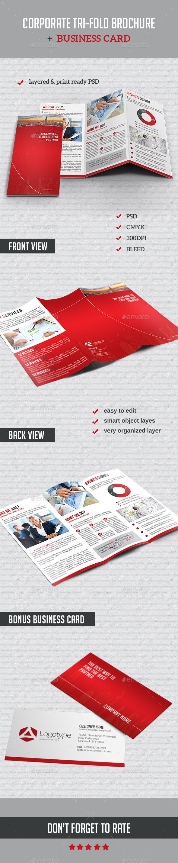Corporate Tri-Fold Brochure + Business Card - Corporate Brochures