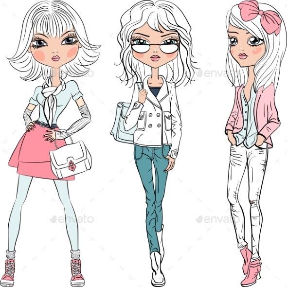 Fashion Girls Top Models  - People Characters