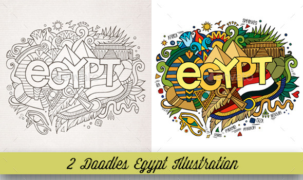 Egypt Doodles Illustrations - Travel Conceptual