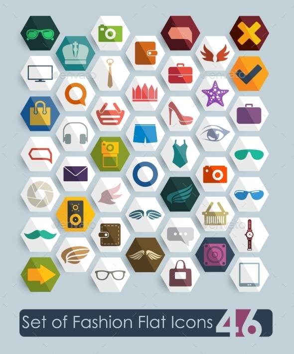 Set of Fashion Flat Icons - Retail Commercial / Shopping