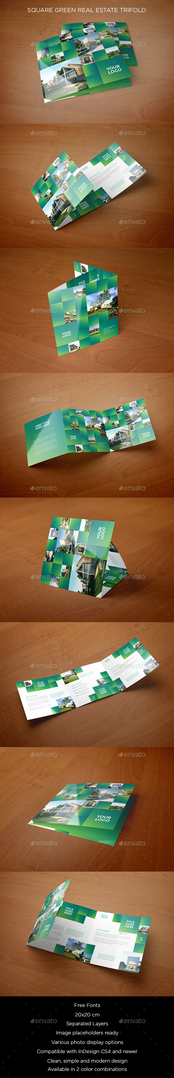 Square Green Real Estate Trifold - Brochures Print Templates