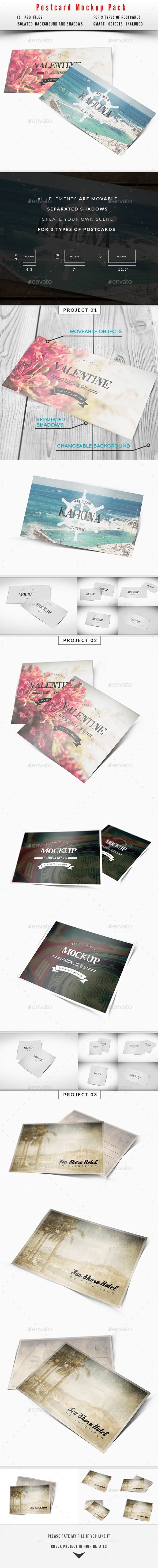 Postcard / Invitation Mockup Pack - Miscellaneous Print