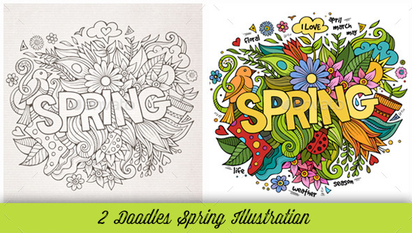 Spring Doodles Illustrations - Miscellaneous Seasons/Holidays