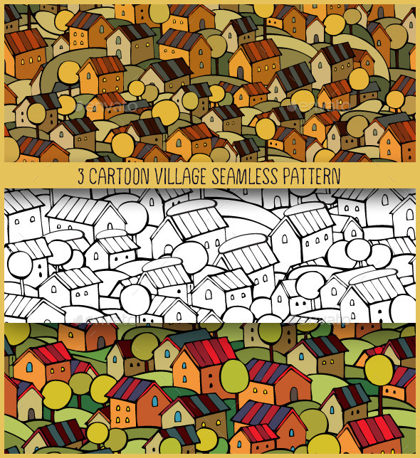 3 Cartoon Village Seamless Pattern - Buildings Objects