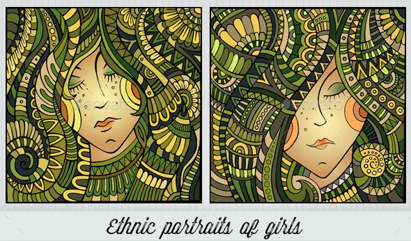 2 Ethnic Girl Portraits - People Characters
