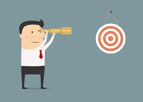 Businessman Setting his Sights on the Target - Business Conceptual