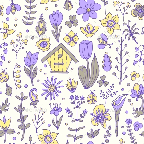 Floral Spring Seamless Pattern - Flowers & Plants Nature