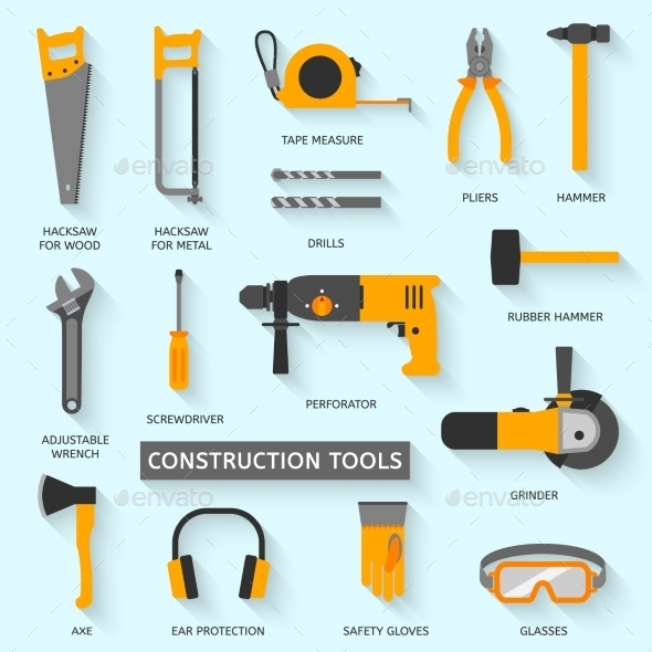 Construction Tools Icons Set - Buildings Objects