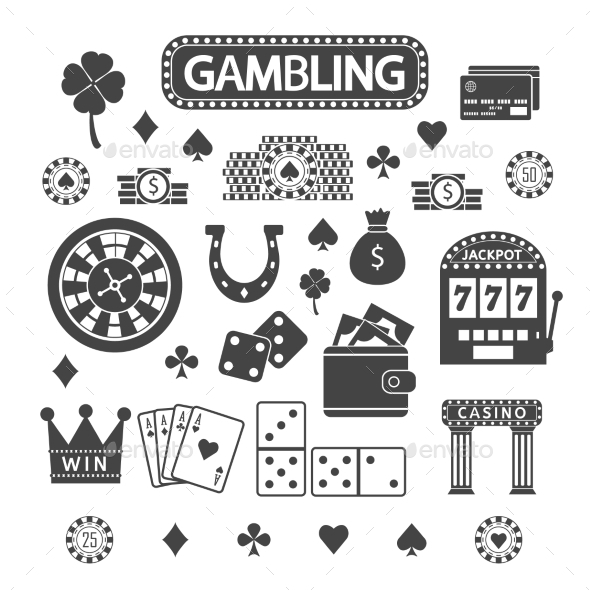Gambling Silhouette Icons Set - Web Technology