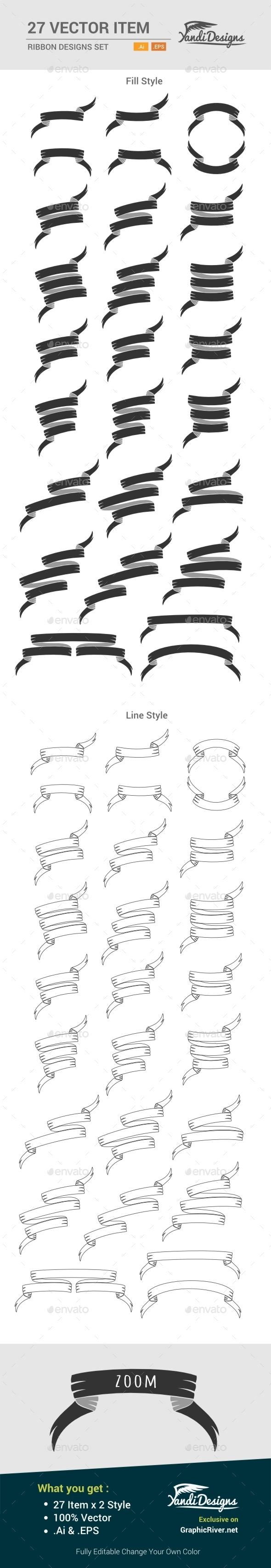 Ribbon Design Set - Decorative Vectors