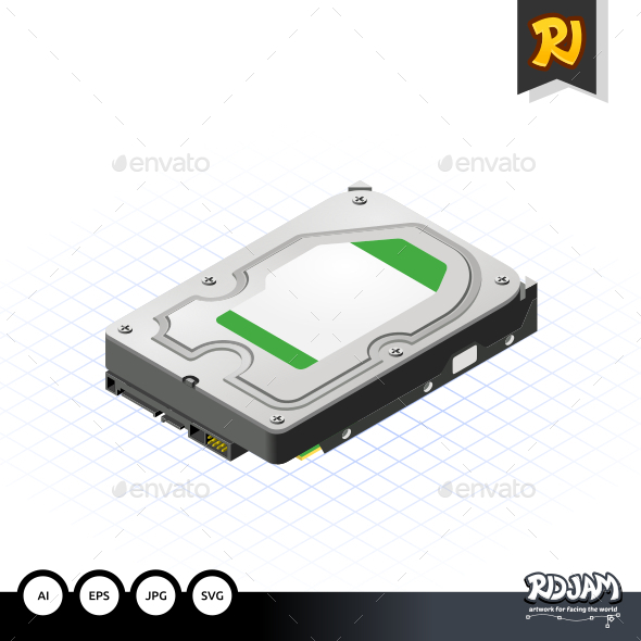 Isometric Hard Disk - Computers Technology