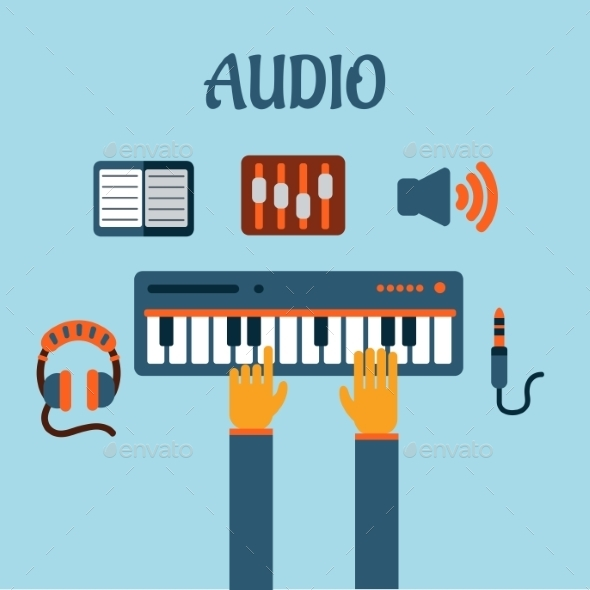 Sound Recording Flat Concept - Media Technology
