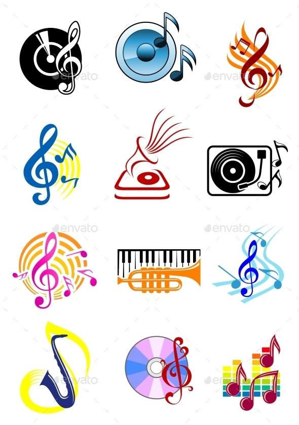 Colorful Musical Icons Set - Miscellaneous Vectors