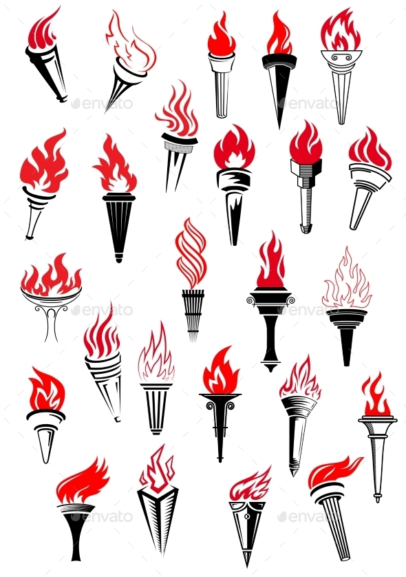 Flaming Torches in Vintage Style - Man-made Objects Objects