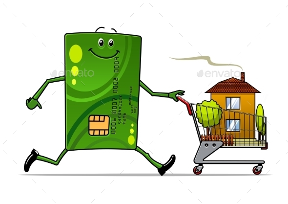 Cartoon Credit Card Pushing a Cart with House - Commercial / Shopping Conceptual