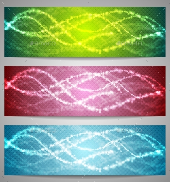 Shiny Iridescent Banners Design - Backgrounds Decorative