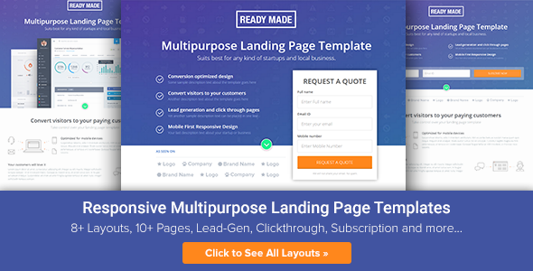 Image of Multipurpose Landing Page Template - ReadyMade
