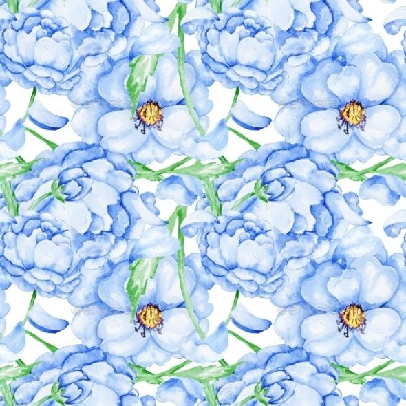 Watercolor Blue Flower Pattern - Patterns Backgrounds