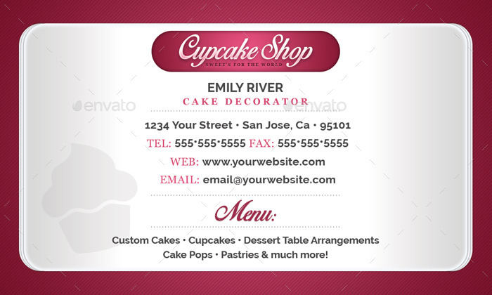 Bakery shop business card template by flyerpunkz graphicriver bakery shop business card template business cards print templates sample back pkg reheart