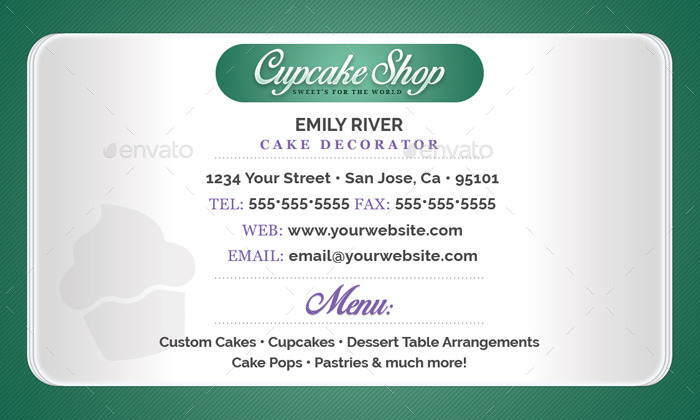 Bakery shop business card template by flyerpunkz graphicriver sample back pkg reheart Gallery