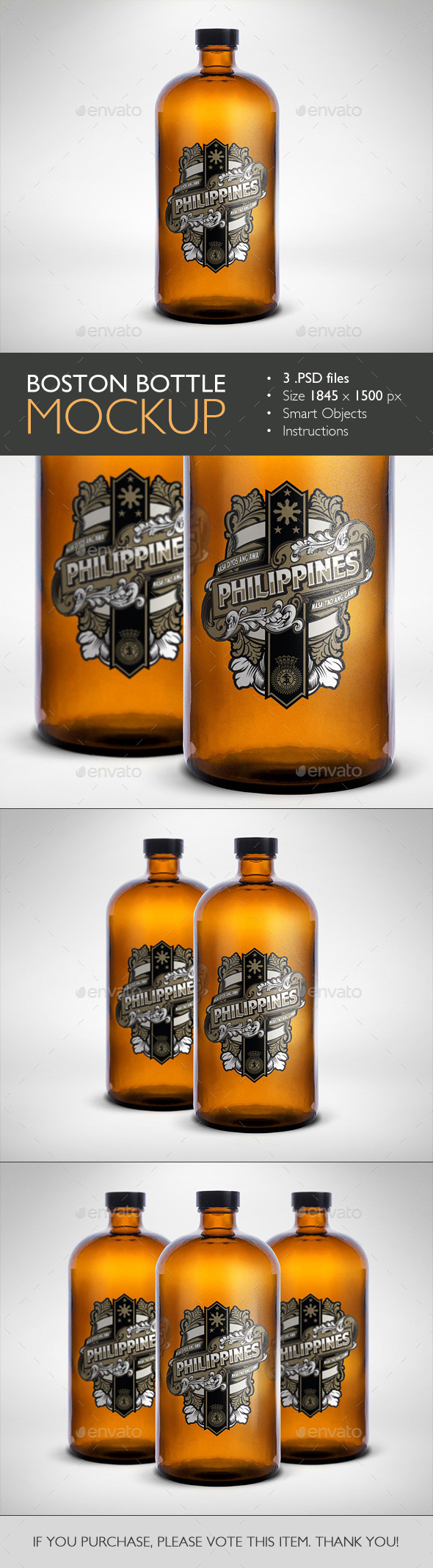 Boston Round Bottle Mockup - Food and Drink Packaging