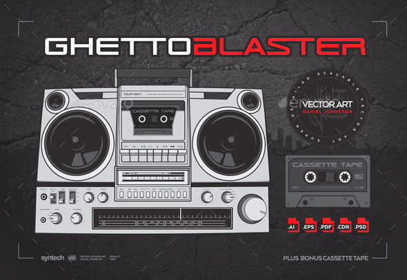 Ghetto Blaster / Boombox with Cassette Tape - Objects Vectors