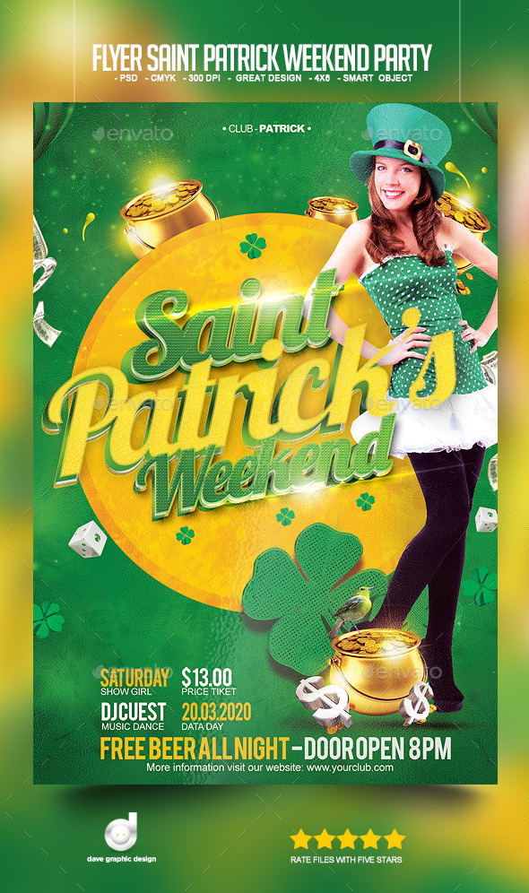 Flyer Saint Patrick's Weekend Party  - Clubs & Parties Events
