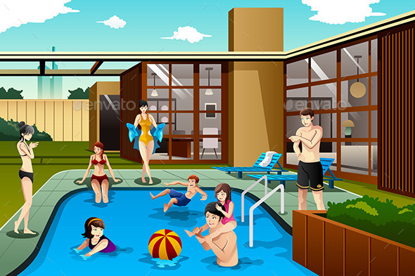 Family and Friends in Swimming Pool - Sports/Activity Conceptual