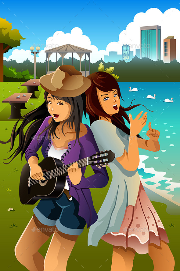 Teenage Girls Singing and Playing Guitar - People Characters