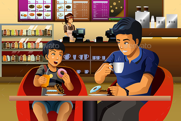 Father and Son Eating Breakfast - People Characters