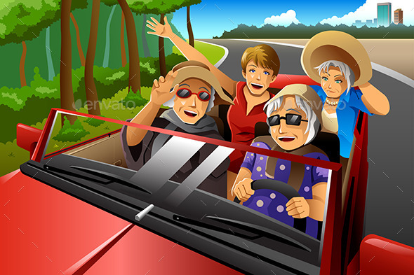 Elderly Woman in a Car - Travel Conceptual