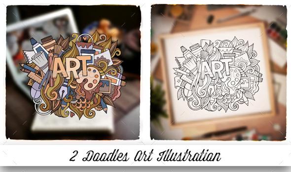 2 Art Doodles Design - Decorative Vectors