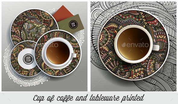Cup and Tableware Ethnic Printed Set - Food Objects