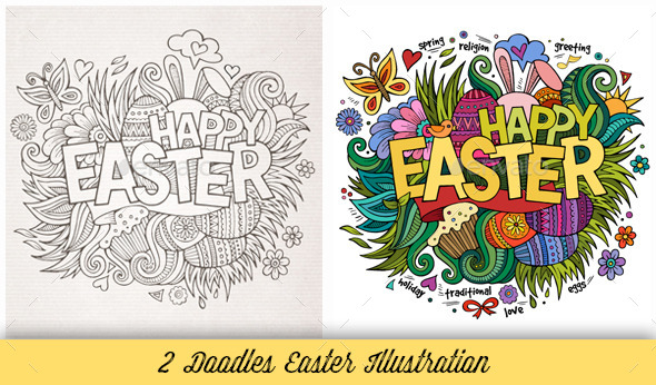 Easter Doodles Illustration - Seasons/Holidays Conceptual