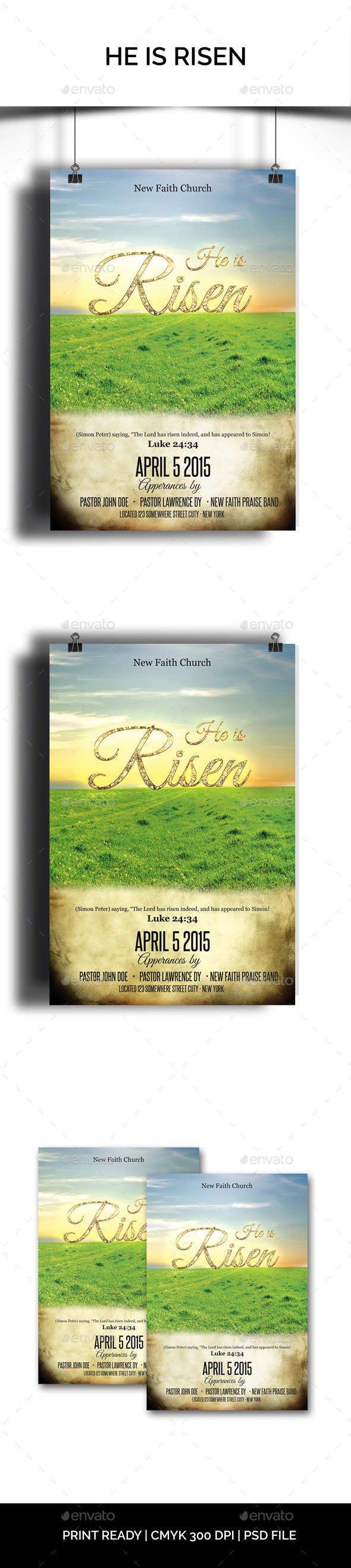 He is Risen Church Flyer - Church Flyers