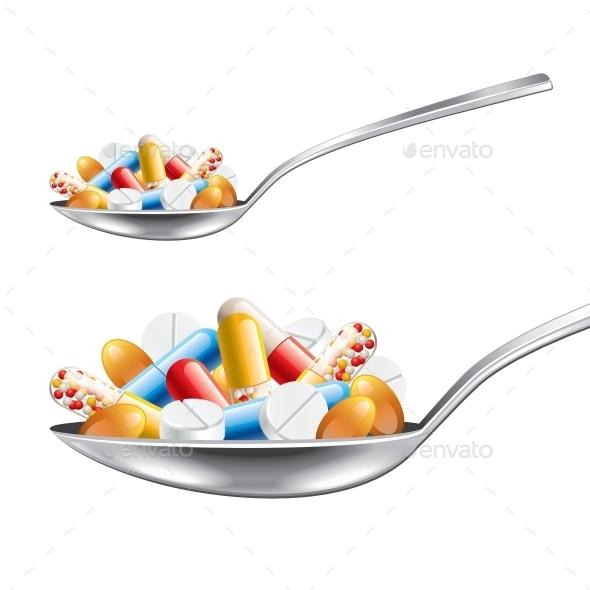Spoon with Medicines - Health/Medicine Conceptual