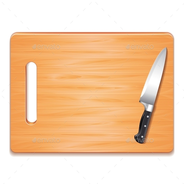 Cutting Board and Knife  - Food Objects