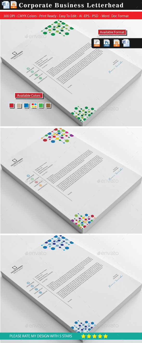 Corporate Colourful Business Letterhead (Updated) - Stationery Print Templates