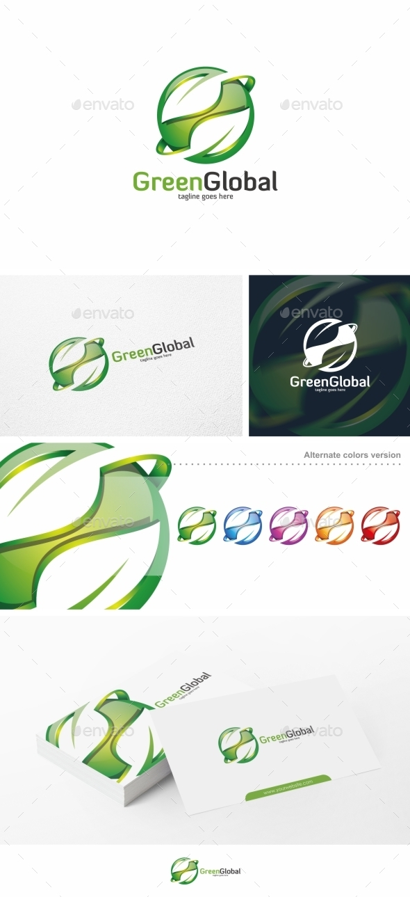 Green Global / Leaf - Logo Template - Nature Logo Templates