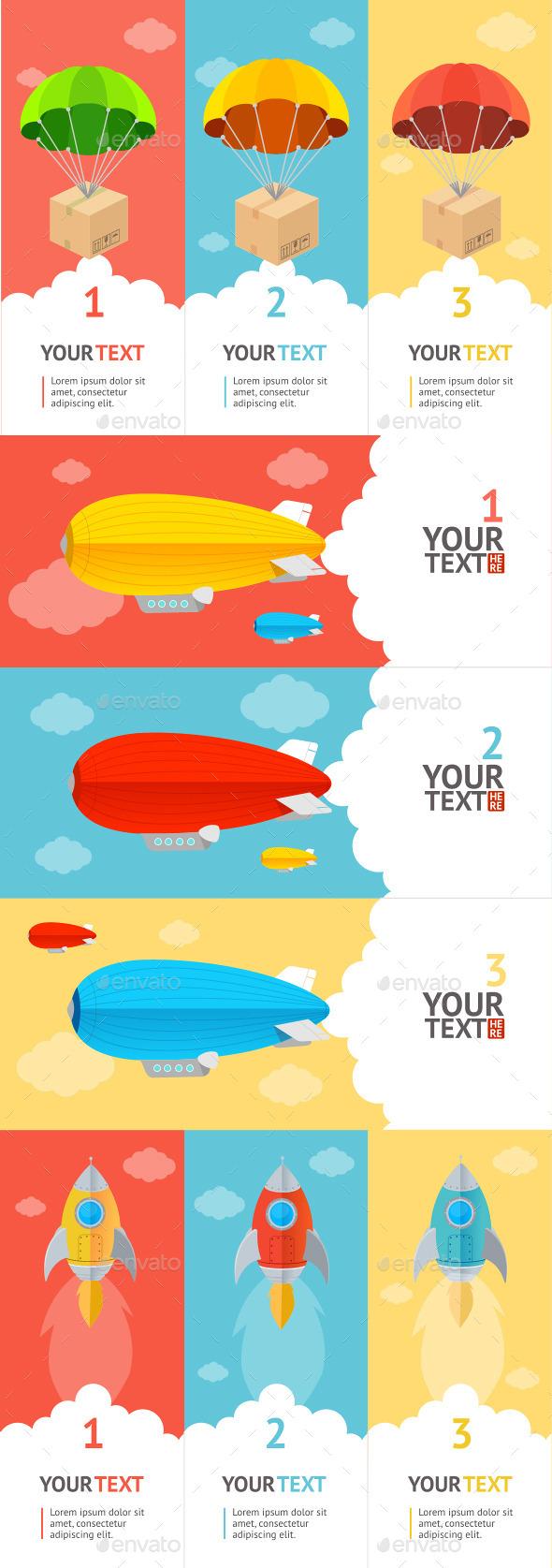 Parachute Option Banner - Business Conceptual