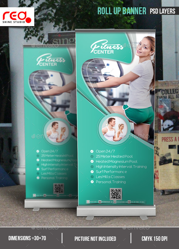Fitness Center Promotion Roll-up Banner - Signage Print Templates