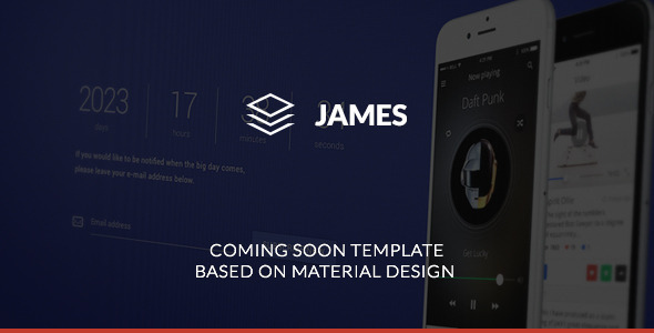 James – Material Design Coming Soon Template